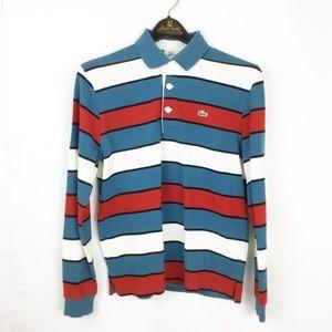 Lacoste France striped blue longsleeve polo shirt